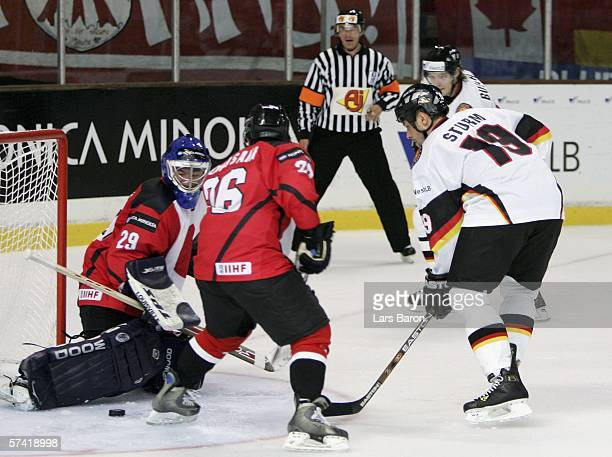 Marco Sturm of Germany scores the second goal during the IIHF World Championship Division 1 Group A match between Germany and Japan on April 25 2006...