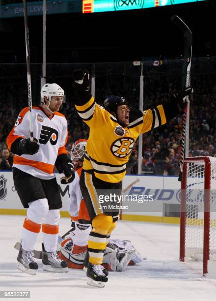 Marco Sturm of the Boston Bruins celebrates scoring a goal to defeat the Philadelphia Flyers 21 in overtime during the 2010 Bridgestone Winter...