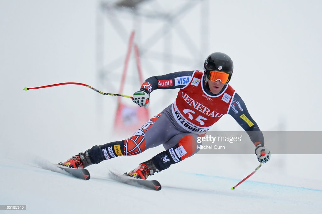 Marco Sullivan of The USA competes in the Super G stage on the Hahnenkamm Course during the Audi FIS Alpine Ski World Cup Super Combined race on January 26, 2013 in Kitzbuhel, Austria.