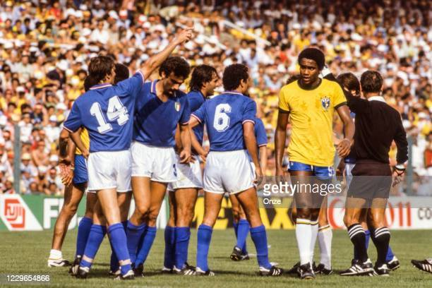 Marco Tardelli, Giuseppe Bergomi, Claudio Gentile of Italy and Serginho of Brazil during the second stage of the 1982 FIFA World Cup match between...