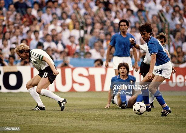 Marco Tardelli of Italy in action during the 1982 FIFA World Cup Final against West Germany on 11th July 1982 at the Santiago Bernabeu Stadium in...