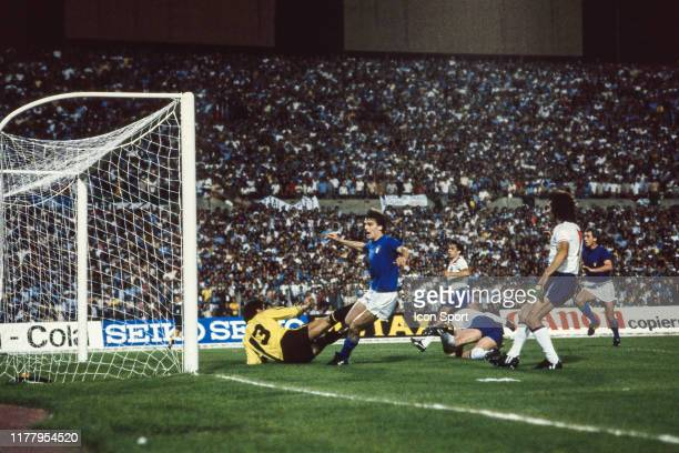 Marco Tardelli of Italy scores during the Euro 1980 match between England and Italy at Delle Alpi Stadium Turin Italy on June 15th 1980 Icon Sport