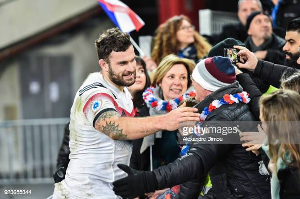 Marco Tauleigne of France celebrates the win with fans during the NatWest Six Nations match between France and Italy at Stade Velodrome on February...