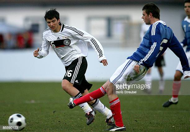 Marco Terrazzino of Germany battles for the ball with Sebastian Faure of France during the U18 International friendly match between Germany and...