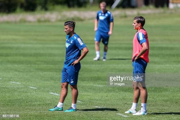 Marco Terrazzino of Hoffenheim and Justin Hoogma of Hoffenheim looks on during the Training Camp of TSG 1899 Hoffenheim on July 16 2017 in...