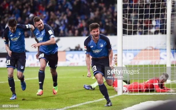 Marco Terrazzino of Hoffenheim celebrates his team's second goal during the Bundesliga match between TSG 1899 Hoffenheim and 1 FSV Mainz 05 at Wirsol...