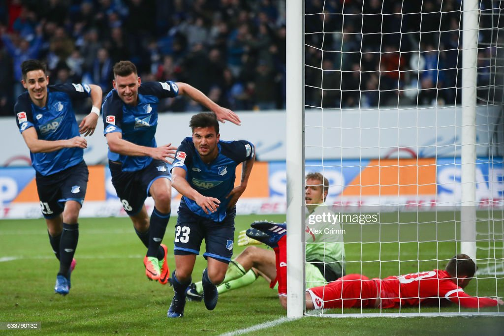 Marco Terrazzino of Hoffenheim celebrates his team's third goal during the Bundesliga match between TSG 1899 Hoffenheim and 1. FSV Mainz 05 at Wirsol Rhein-Neckar-Arena on February 4, 2017 in Sinsheim, Germany.