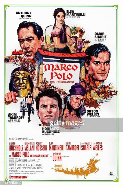 Marco The Magnificent poster US poster art clockwise from top left Anthony Quinn Elsa Martinelli Omar Sharif Orson Welles Horst Buchholz Akim...