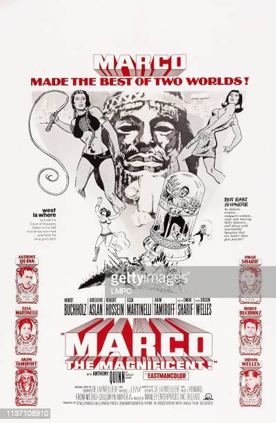 Marco The Magnificent poster US poster bottom left from top Anthony Quinn as Kublai Khan Elsa Martinelli Akim Tamiroff bottom right from top Omar...