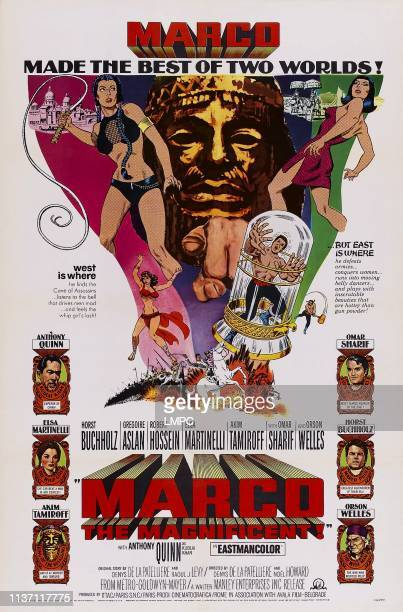Marco The Magnificent poster US poster left from top Anthony Quinn Elsa Martinelli Akim Tamiroff right from top Omar Sharif Horst Buchholz Orson...