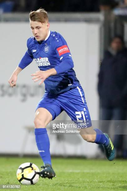 Marco Thiede of Karlsruher SC during the 3 Liga match between SV Wehen Wiesbaden and Karlsruher SC at on February 2 2018 in Wiesbaden Germany