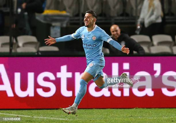 Marco Tilio of Melbourne City celebrates after scoring a goal during the A-League Semi-Final match between Melbourne City and Macarthur FC at...