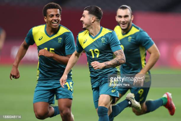 Marco Tilio of Team Australia celebrates after scoring their side's second goal during the Men's First Round Group C match between Argentina and...