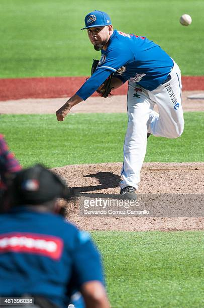Marco Tovar of Charros de Jalisco in action against Yaquis of Obregon in the first game of semifinals of liga del Pacífico in Zapopan 2015 on january...