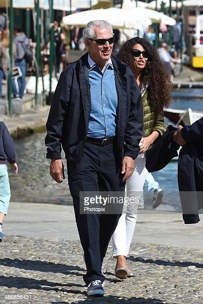 Marco Tronchetti Provera and Afef Jnifen are seen on April 26, 2014 in Portofino, Italy.