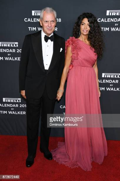Marco Tronchetti Provera and Afef Jnifen attend the 2018 Pirelli Calendar Launch Gala at The Pierre Hotel on November 10 2017 in New York City