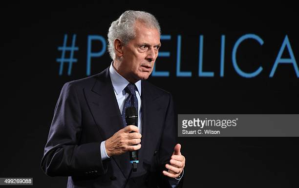 Marco Tronchetti Provera attends a Photocall to launch the 2016 Pirelli Calendar by Annie Leibovitz at Grosvenor House, on November 30, 2015 in...