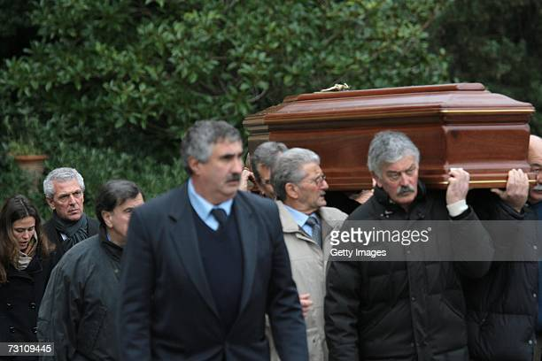 Marco Tronchetti Provera CEO of Pirelli and C Spa and his daughter Ilaria follow the coffin of Leopoldo Pirelli during his funeral on January 25 2007...