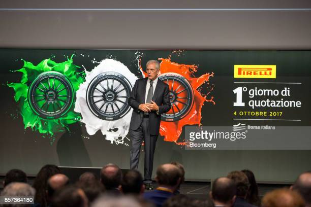 Marco Tronchetti Provera chief executive officer of Pirelli C SpA speaks during the Pirelli C SpA launch ceremony at the Borsa Italiana Italy's Stock...