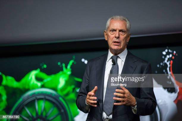 Marco Tronchetti Provera chief executive officer of Pirelli C SpA gestures while speaking during the Pirelli C SpA launch ceremony at the Borsa...