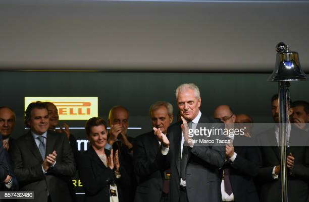 Marco Tronchetti Provero CEO of Pirelli attends a ceremony announcing the return of Pirelli to the Milan Stock-Exchange on October 4, 2017 in Milan,...