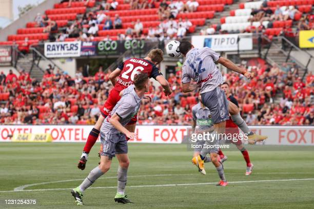 Marco Urena of Central Coast Mariners heads the ball during the Hyundai A-League soccer match between Adelaide United and Central Coast Mariners FC...