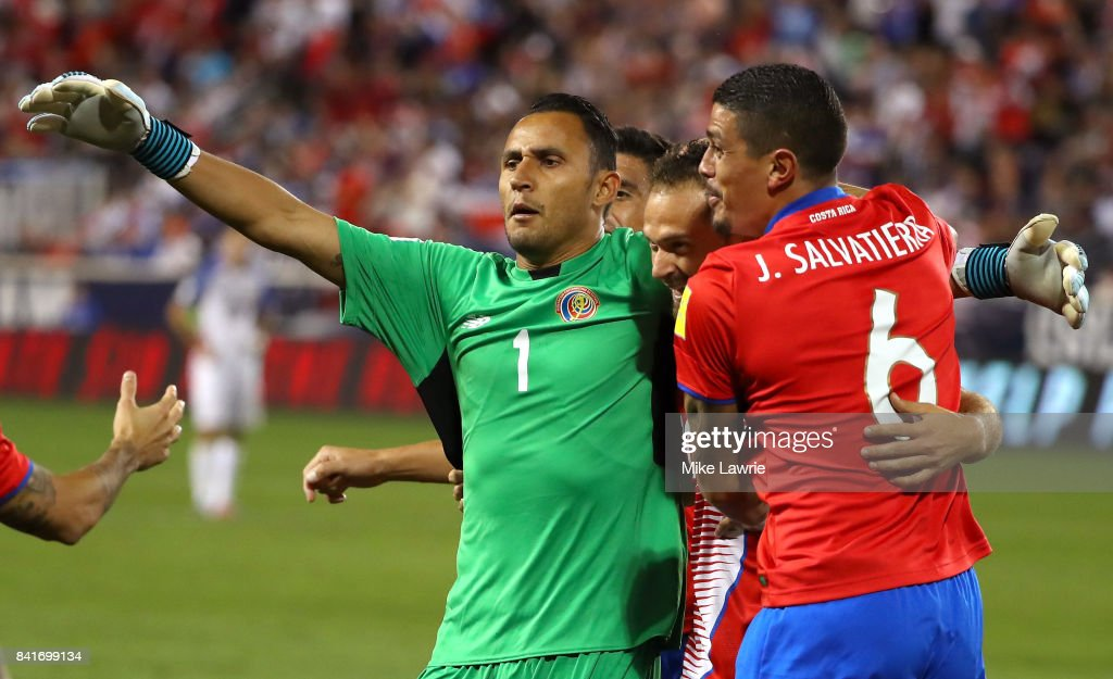 Marco Urena #21 of Costa Rica celebrates scoring his team's second goal with teammates Keylor Navas #1 and Jose Salvatierra #6 in the second half against the United States during the FIFA 2018 World Cup Qualifier at Red Bull Arena on September 1, 2017 in Harrison, New Jersey.