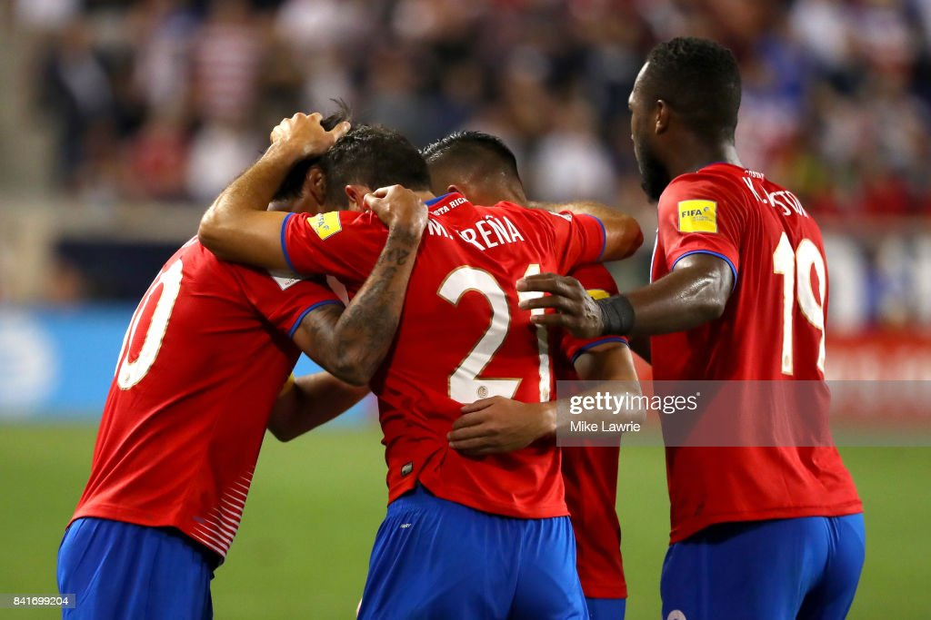 Marco Urena #21 of Costa Rica celebrates with teammates after scoring his team's second goal against the United States in the second half during the FIFA 2018 World Cup Qualifier at Red Bull Arena on September 1, 2017 in Harrison, New Jersey.