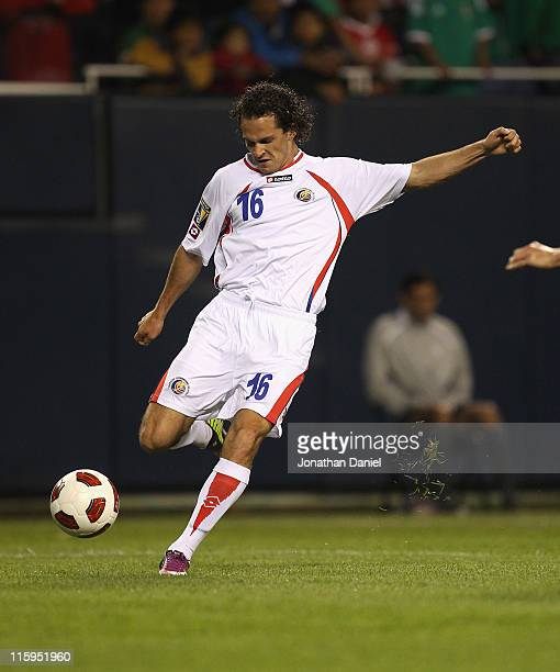 Marco Urena of Costa Rica fires a shot for a goal against Mexico during a CONCACAF Gold Cup 2011 match at Soldier Field on June 12 2011 in Chicago...