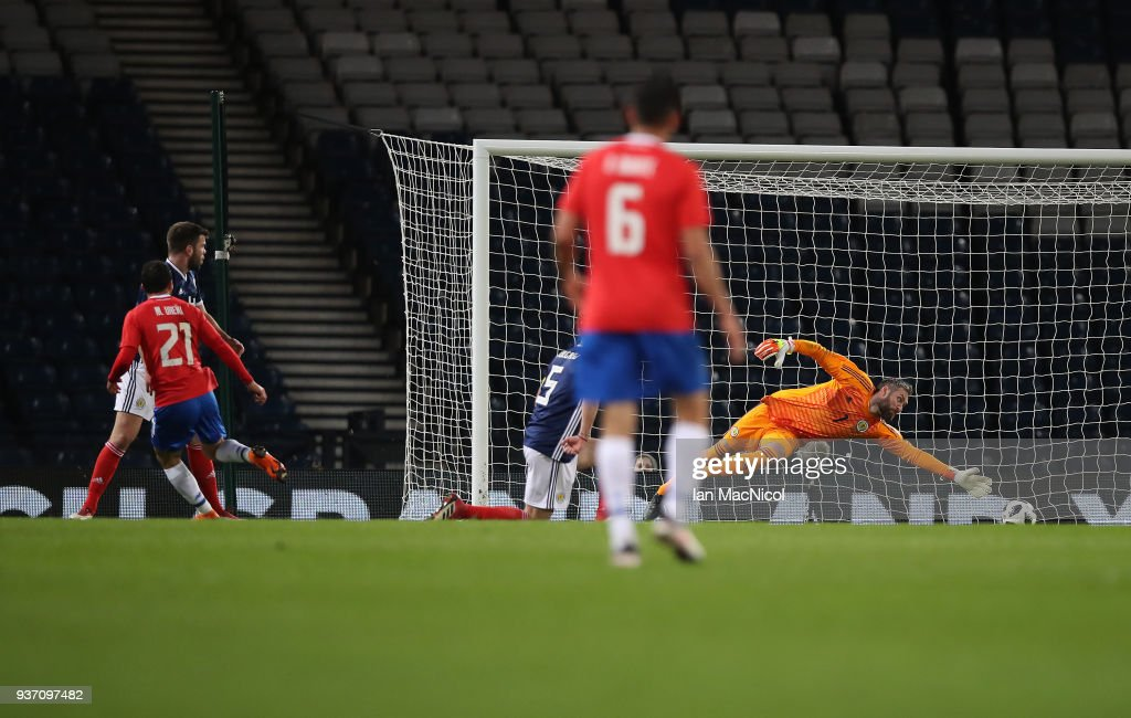Marco Urena of Costa Rica scores the opening goal past Allan McGregor of Scotland during the Vauxhall International Challenge match between Scotland and Costa Rica at Hampden Park on March 23, 2018 in Glasgow, Scotland.