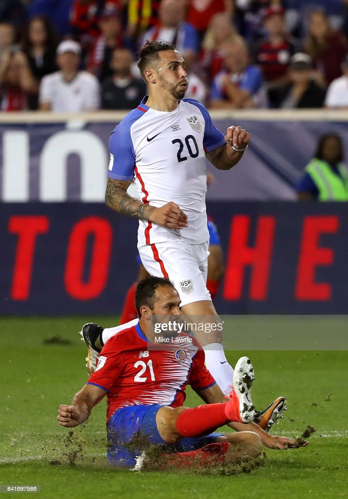 Marco Urena #21 of Costa Rica shoots and scores his team's second goal against the United States in the second half during the FIFA 2018 World Cup Qualifier at Red Bull Arena on September 1, 2017 in Harrison, New Jersey.