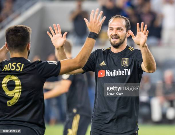 Marco Urena of Los Angeles FC celebrate his goal during the U.S. Open Cup Quarterfinal between Los Angeles FC and Portland Timbers at the Banc of...