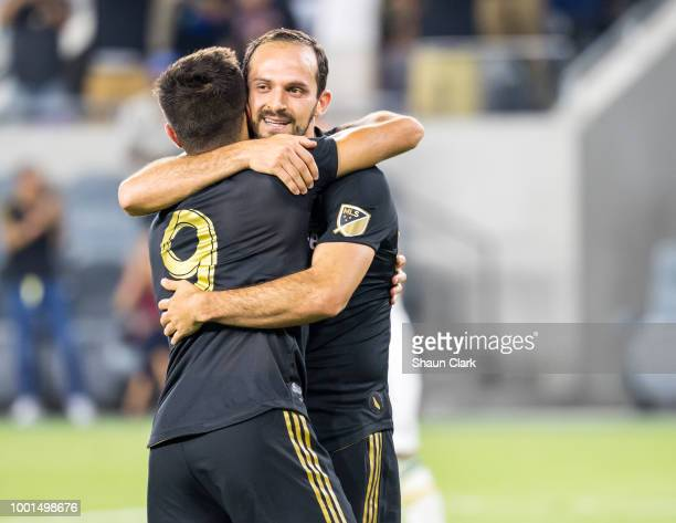 Marco Urena of Los Angeles FC celebrate his goal with Diego Rossi of Los Angeles FC during the U.S. Open Cup Quarterfinal between Los Angeles FC and...