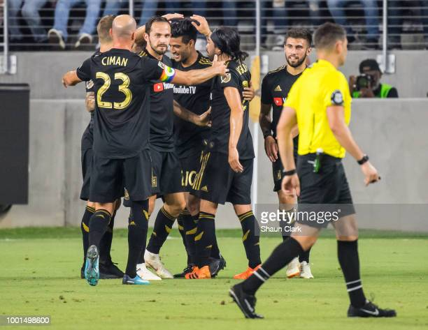 Marco Urena of Los Angeles FC celebrates during the U.S. Open Cup Quarterfinal between Los Angeles FC and Portland Timbers at the Banc of California...