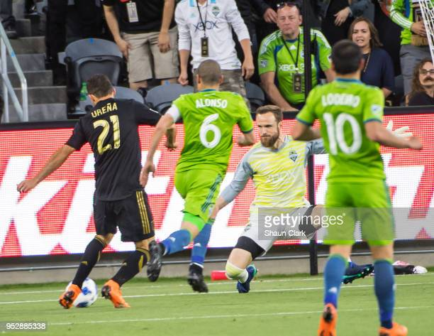 Marco Urena of Los Angeles FC takes a shot saved by Stefan Frei of Seattle Sounders during Los Angeles FC's MLS match against Seattle Sounders at the...