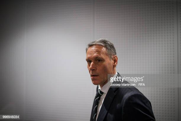 Marco van Basten arrives to the media briefing with FIFA Technical Study Group at Luzhniki Stadium on July 12 2018 in Moscow Russia