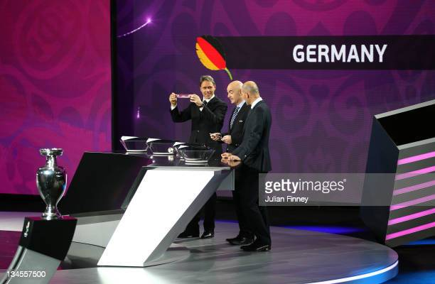 Marco Van Basten draws Germany during the UEFA EURO 2012 Final Draw Ceremony on December 2 2011 in Kiev Ukraine