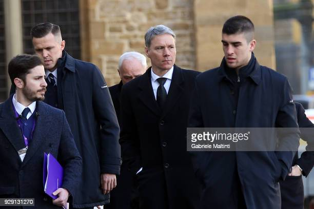 Marco Van Basten formerly of AC Milan ahead of a funeral service for Davide Astori on March 8 2018 in Florence Italy The Fiorentina captain and Italy...