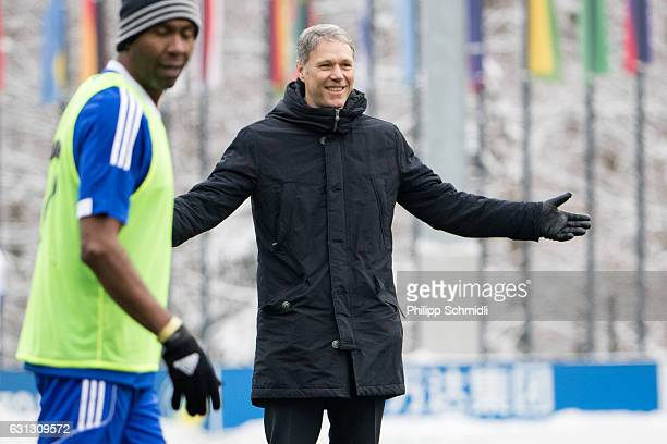 Marco van Basten gestures during a FIFA Team Friendly Football Match at the FIFA headquarters prior to The Best FIFA Football Awards 2016 on January...