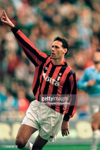 Marco van Basten of AC Milan celebrates after scoring during the Serie A match between AC Milan and Lazio at the San Siro on October 18 1992 in Milan...
