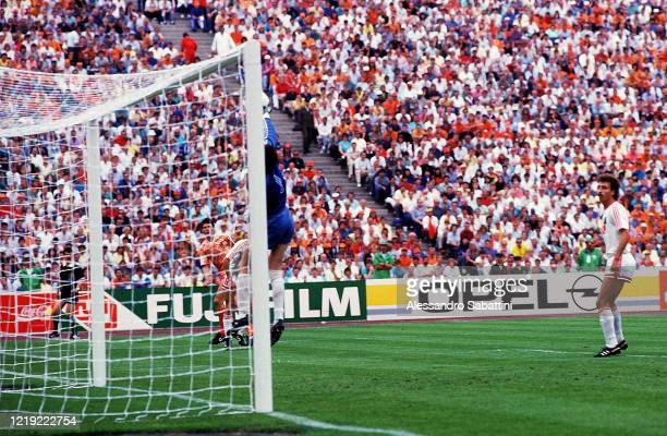 Marco Van Basten of Netherland scores his team second goal during the UEFA European Championship Final 1988 match before Soviet Union and Netherlands...