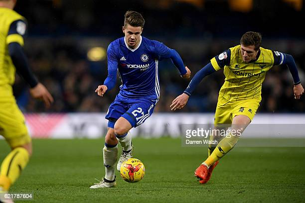 Marco van Ginkel of Chelsea and John Lundstram of Oxford United during a Checkatrade Trophy match between Chelsea and Oxford United at Stamford...