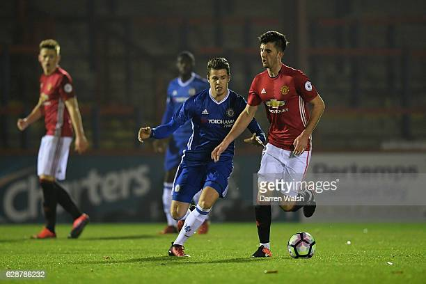 Marco van Ginkel of Chelsea and Sean Goss of Manchester United during a Premier League 2 match between Chelsea and Manchester United at the EBB...