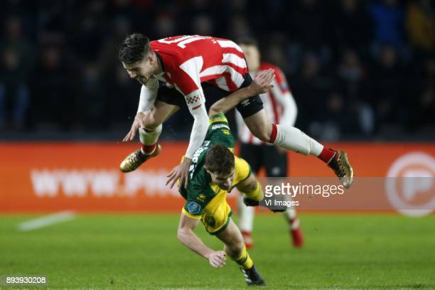 Marco van Ginkel of PSV Aaron Meijers of ADO Den Haag during the Dutch Eredivisie match between PSV Eindhoven and ADO Den Haag at the Phillips...