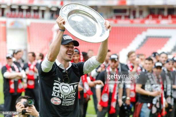 Marco van Ginkel of PSV Celebrate the championship during the PSV champions parade at the City of Eindhoven on April 16 2018 in Eindhoven Netherlands