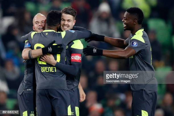 Marco van Ginkel of PSV celebrates 0-1 with Jorrit Hendrix of PSV, Joshua Brenet of PSV, Nicolas Isimat of PSV during the Dutch Eredivisie match...