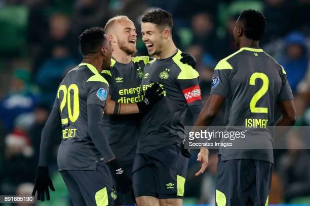 Marco van Ginkel of PSV celebrates 01 with Joshua Brenet of PSV Jorrit Hendrix of PSV Nicolas Isimat of PSV during the Dutch Eredivisie match between...