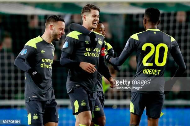 Marco van Ginkel of PSV celebrates 13 with Bart Ramselaar of PSV Steven Bergwijn of PSV Joshua Brenet of PSV during the Dutch Eredivisie match...