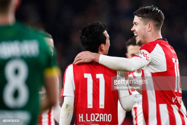 Marco van Ginkel of PSV celebrates 30 with Hirving Lozano of PSV during the Dutch Eredivisie match between PSV v ADO Den Haag at the Philips Stadium...