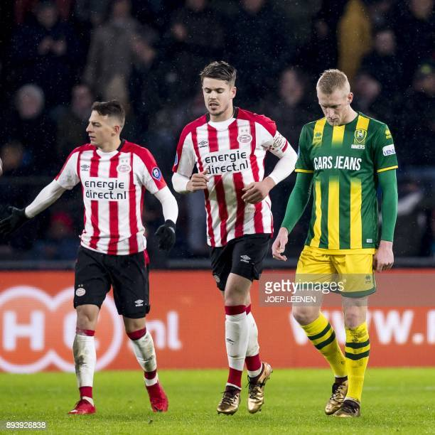 Marco van Ginkel of PSV celebrates a goal during the Dutch eredivisie match between ADO The Hague and PSV Eindhoven in The Hague on December 16 2017...